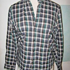 Blue Brown Gray Green Plaid Button Collar Shirt M